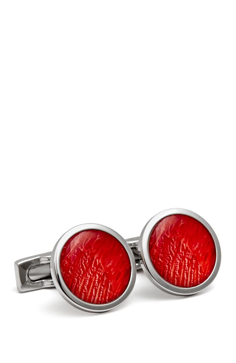 HART SCHAFFNER MARX Rhodium Plated Leather Finish Round Enamel Cuff Links, Main, color, RED