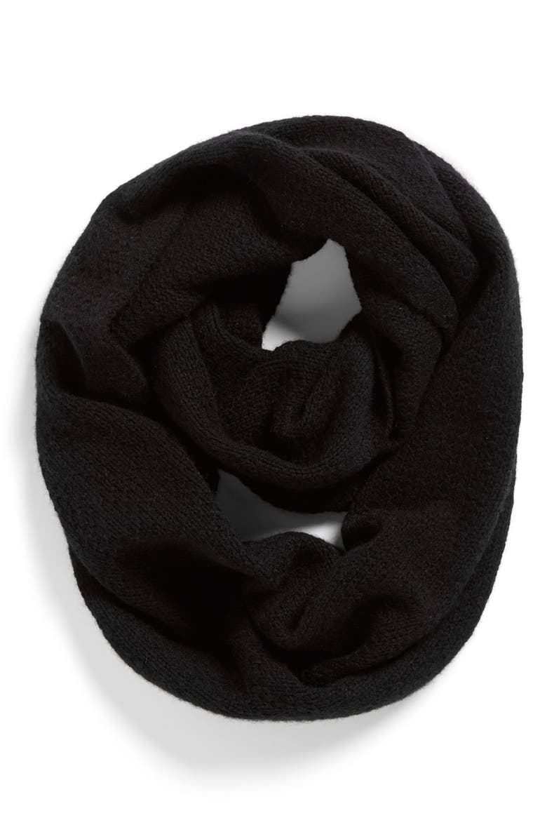 HALOGEN<SUP>®</SUP> Pointelle Knit Wool & Cashmere Infinity Scarf, Main, color, Black