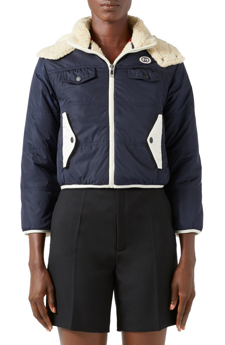 GUCCI GG Patch Reversible Faux Shearling & Nylon Jacket, Main, color, INK/ MILK