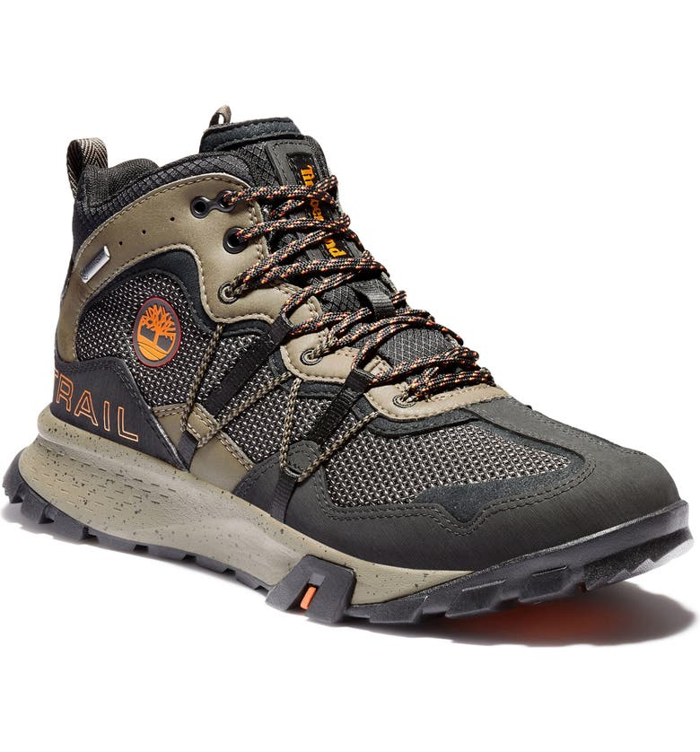 TIMBERLAND Garrison Trail Mid Waterproof Hiking Boot, Main, color, JET BLACK