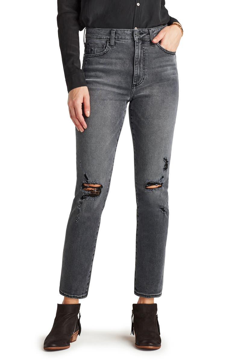SAM EDELMAN The Stiletto Destroyed Knee Straight Leg Jeans, Main, color, XTNA