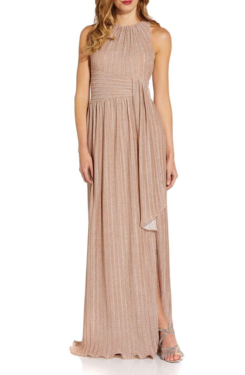 ADRIANNA PAPELL Metallic Micropleated Sleeveless Gown, Main, color, 273