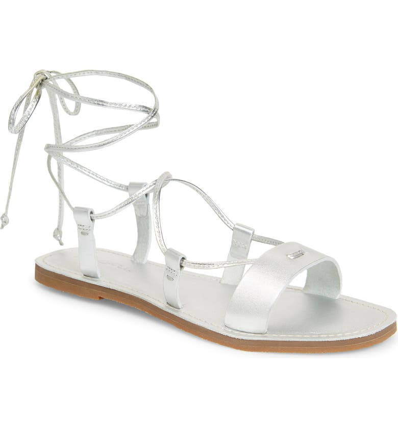 MADEWELL The Boardwalk Lace-Up Sandal, Main, color, SILVER