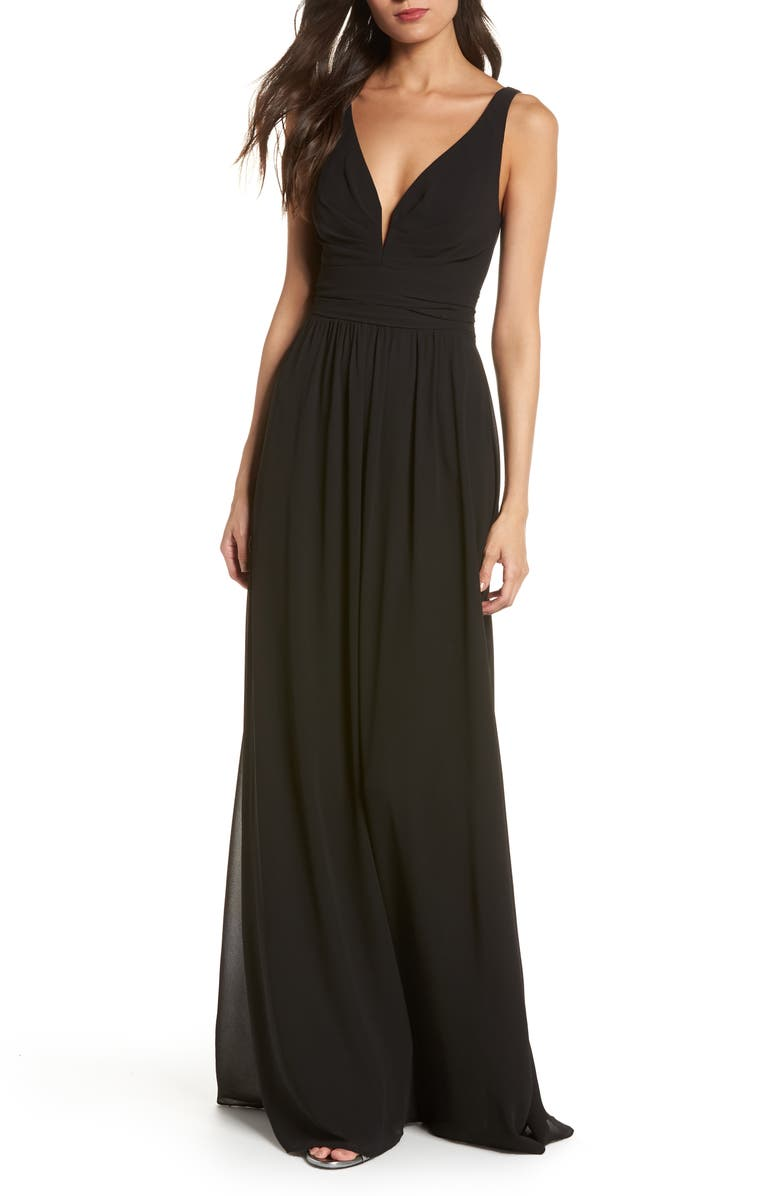 LULUS V-Neck Chiffon A-Line Gown, Main, color, BLACK
