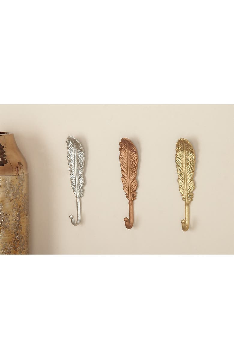 COSMO BY COSMOPOLITAN Metal Feather Hook - Set of 3, Main, color, GOLD SILVER BRONZE