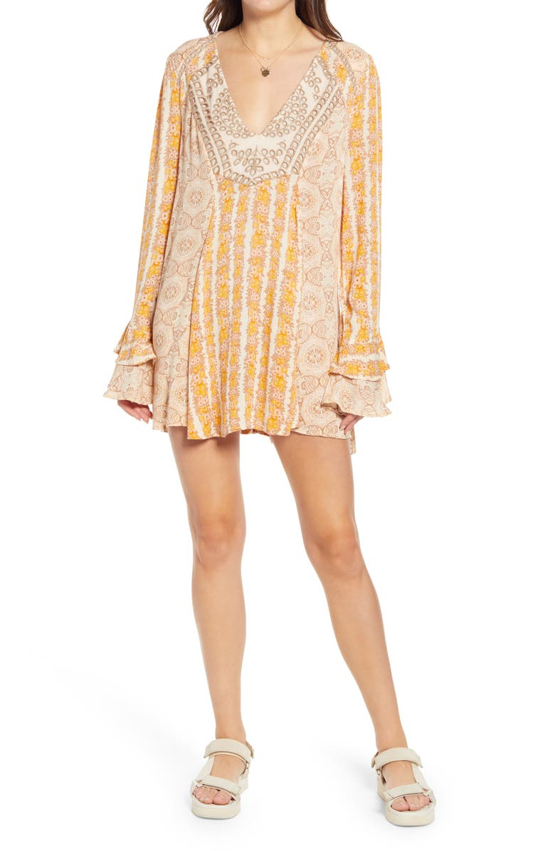 FREE PEOPLE Fallin Into You Long Sleeve Tunic Dress, Main, color, NATURAL COMBO