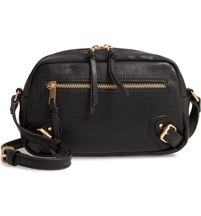 SOLE SOCIETY Dael Faux Leather Crossbody Bag, Main, color, 001