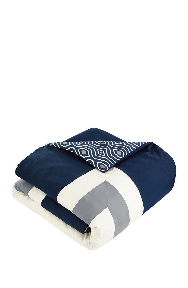 CHIC Queen Jouein Reversible Hotel Collection Geometric Pattern Bed In A Bag - Navy, Main, color, NAVY