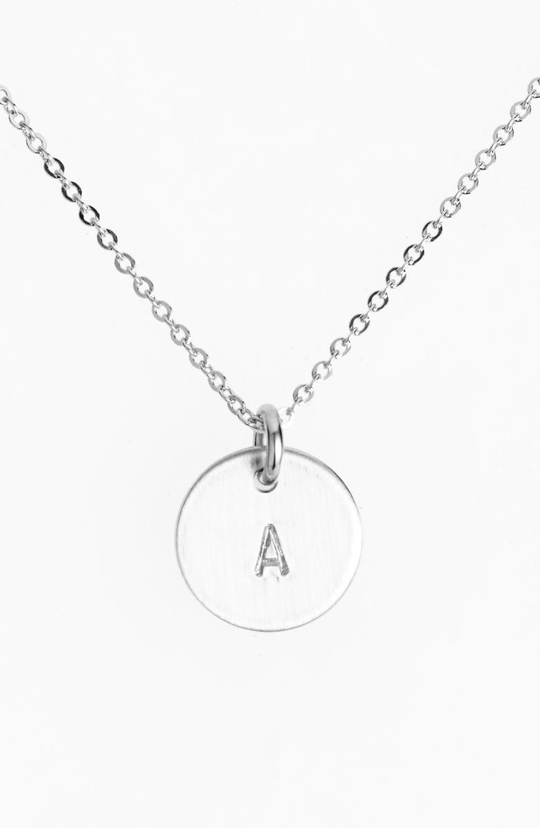 NASHELLE Sterling Silver Initial Mini Disc Necklace, Main, color, STERLING SILVER A