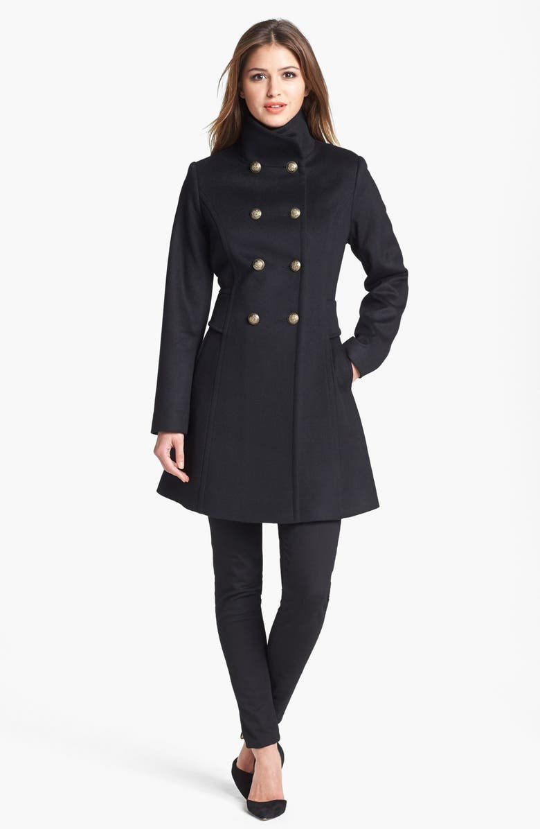 TRINA TURK Double Breasted Lambswool & Cashmere Officer's Coat, Main, color, Black