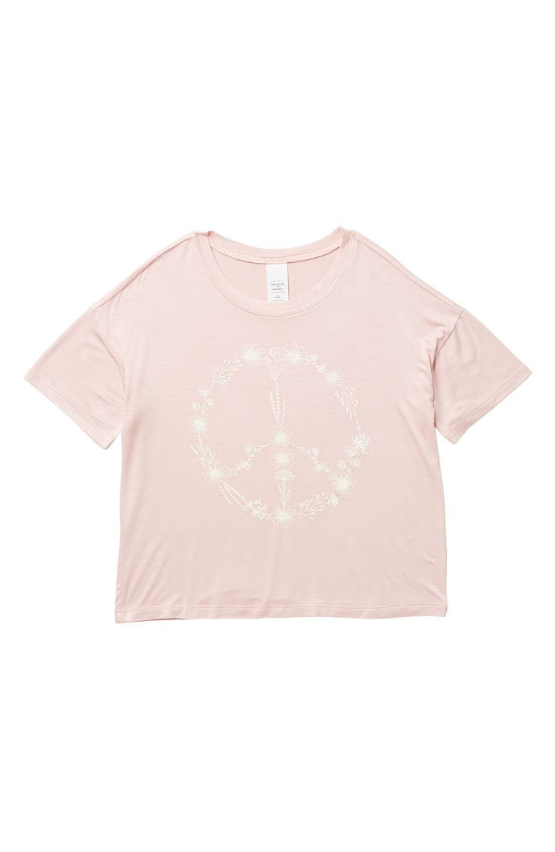 MELROSE AND MARKET Crew Neck Graphic T-Shirt, Main, color, PINK FLORAL PEACE