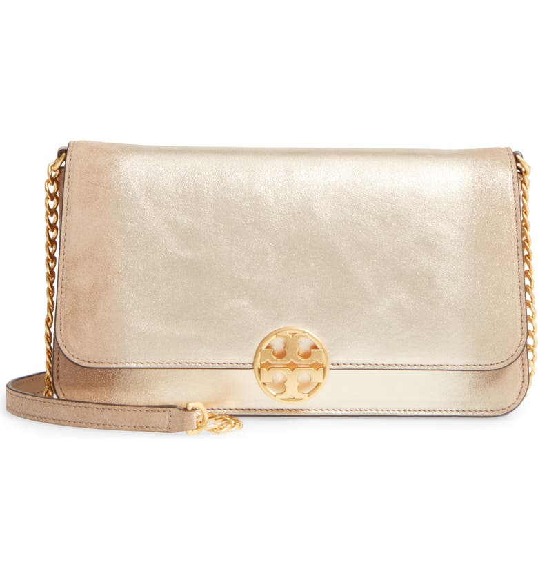TORY BURCH Chelsea Convertible Metallic Leather Clutch, Main, color, Gold