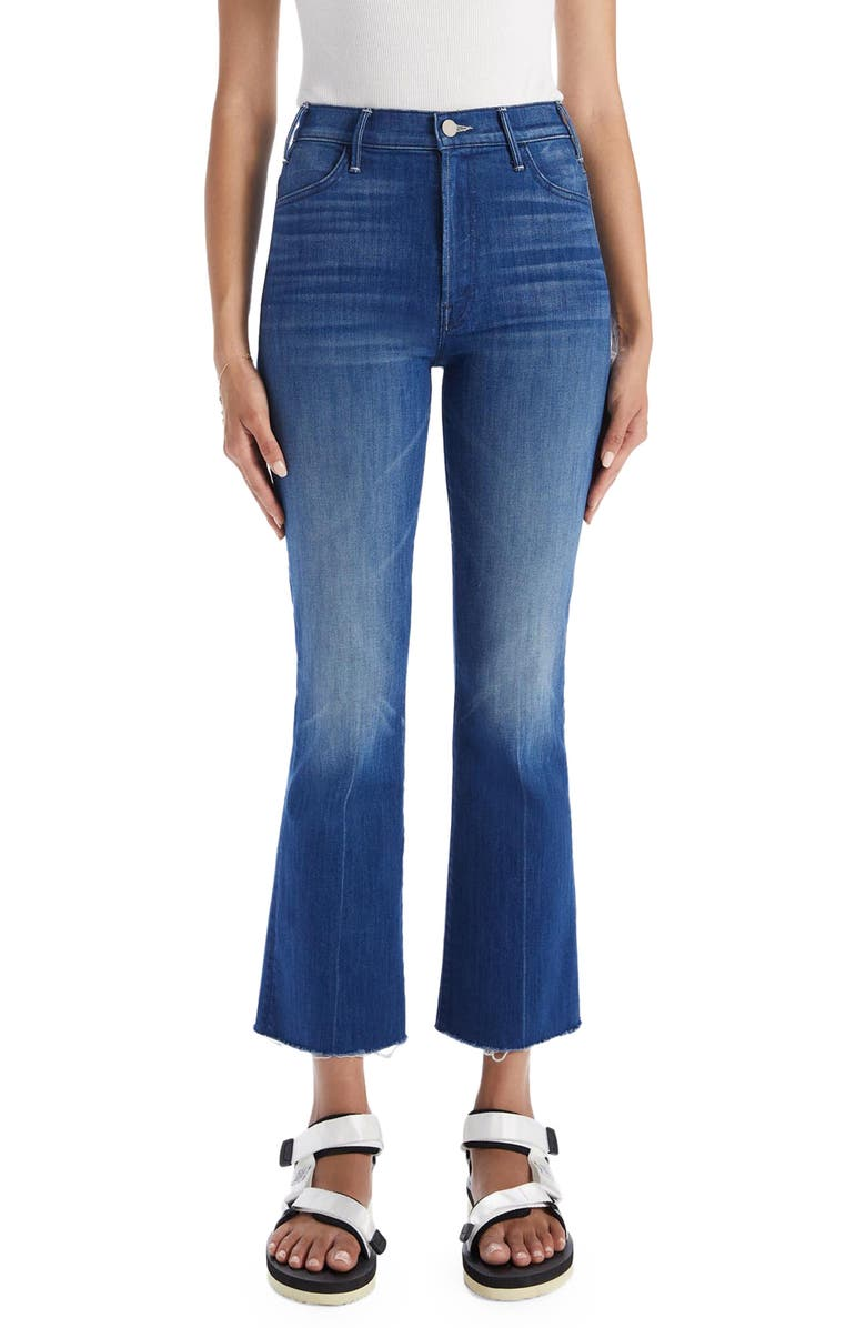 MOTHER The Hustler Frayed Ankle Jeans, Main, color, Squeeze Play