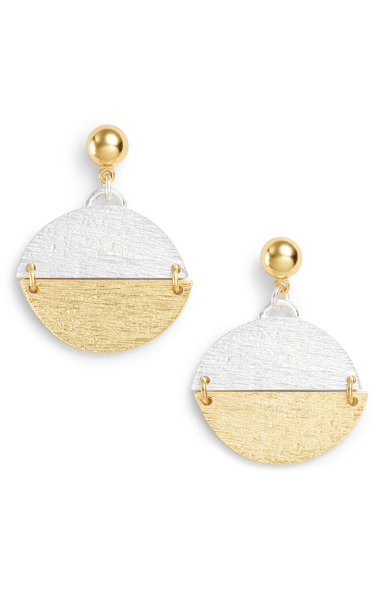 KARINE SULTAN Pendant Drop Earrings, Main, color, GOLD/SILVER MIX