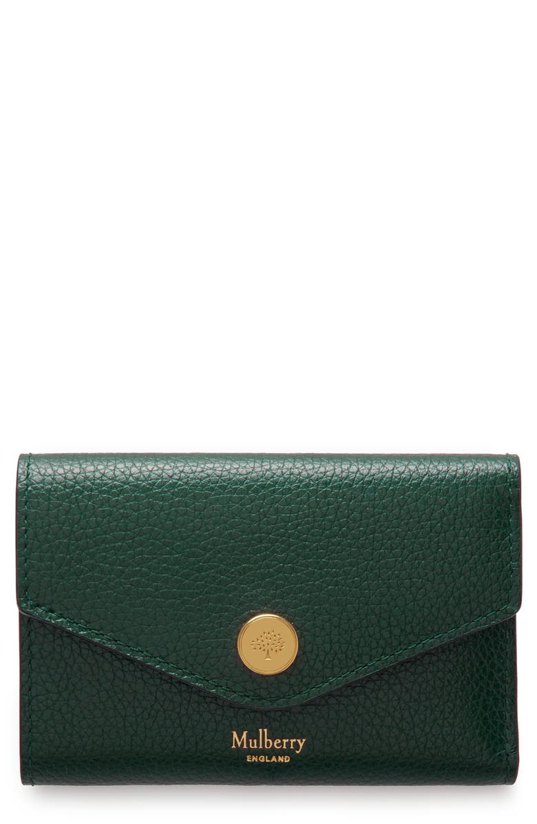 MULBERRY Folded Leather Wallet, Main, color, MULBERRY GREEN