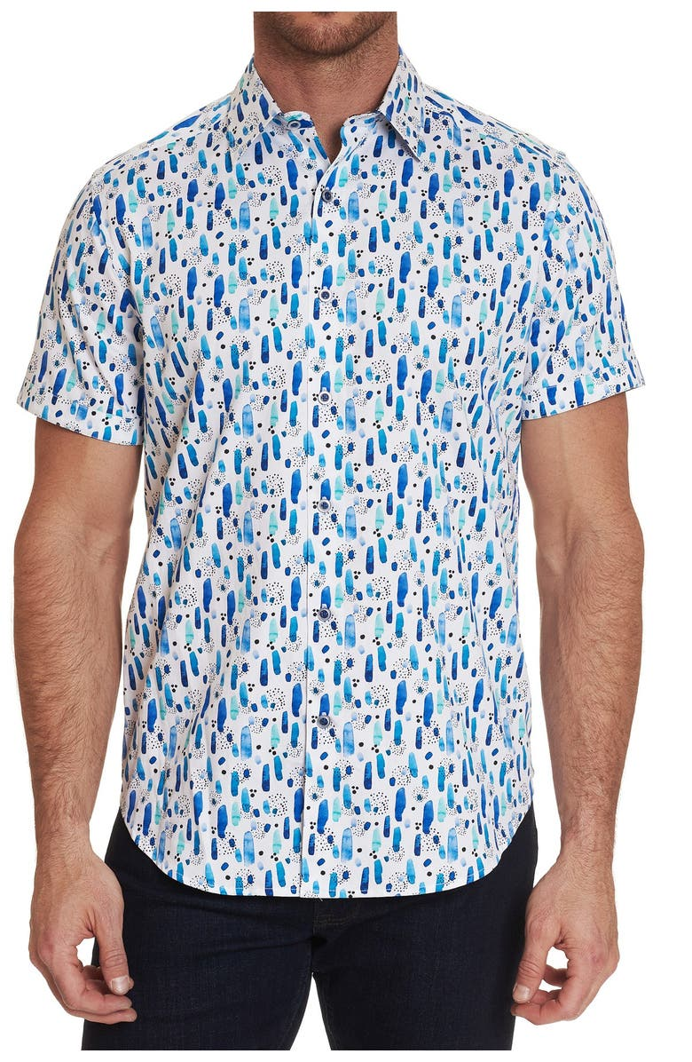 ROBERT GRAHAM Patterned Palmetto Classic Fit Short Sleeve Shirt, Main, color, WHITE