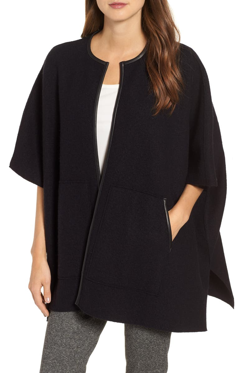 EILEEN FISHER Boiled Wool Poncho Jacket with Leather Trim, Main, color, 001