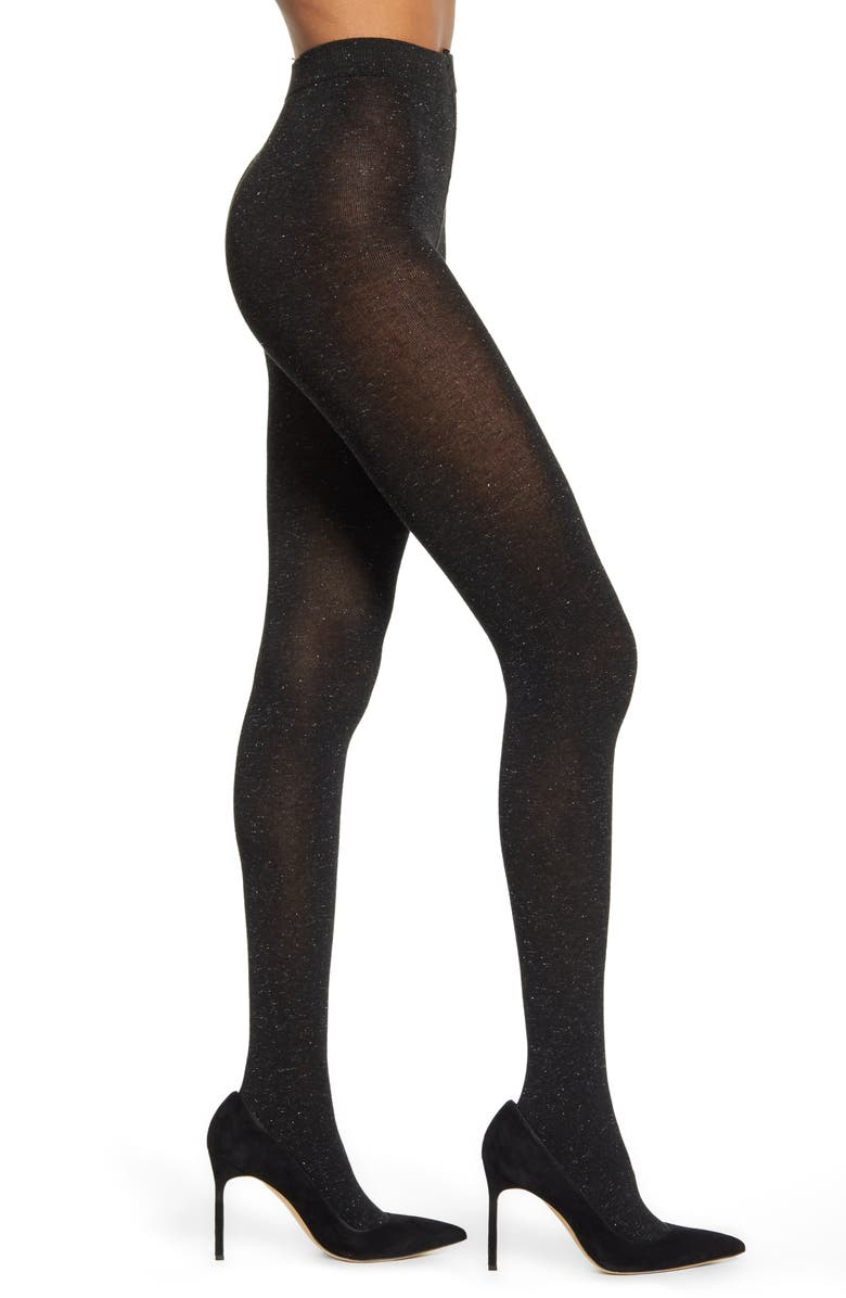 NORDSTROM Textured Sparkle Tights, Main, color, 001