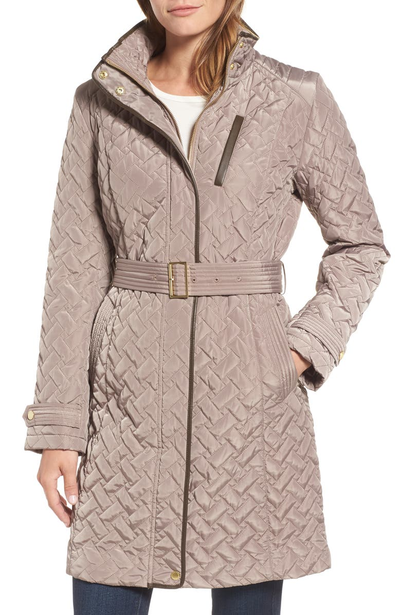 COLE HAAN SIGNATURE Belted Quilted Coat, Main, color, 284