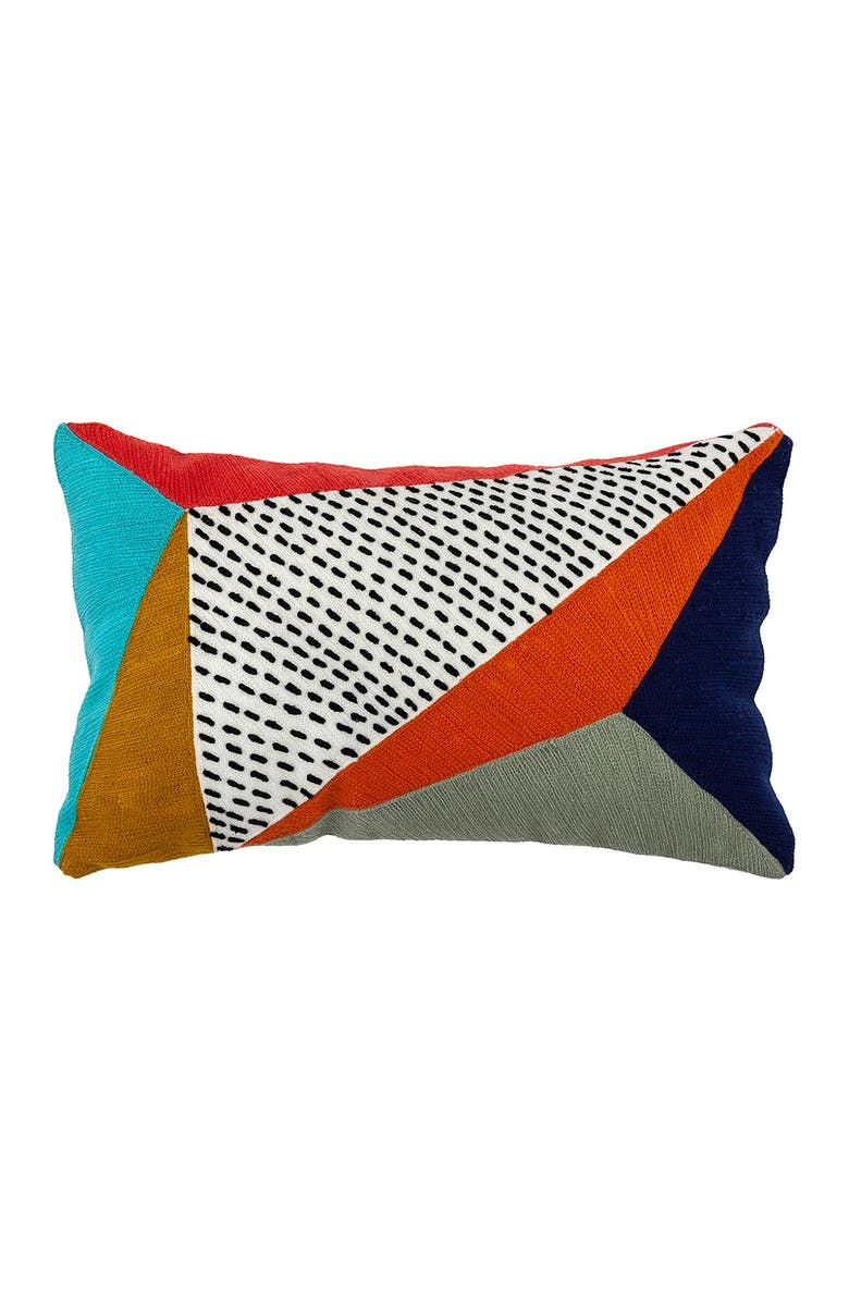 """DIVINE HOME Embroidered Triangles Outdoor Pillow - 12"""" x 20"""" - Multi, Main, color, MULTI"""