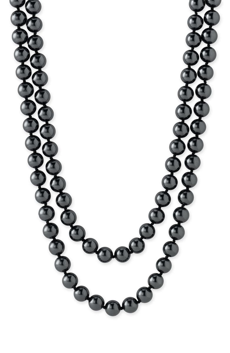 NORDSTROM 10mm Glass Pearl Extra Long Strand Necklace, Main, color, BLACK