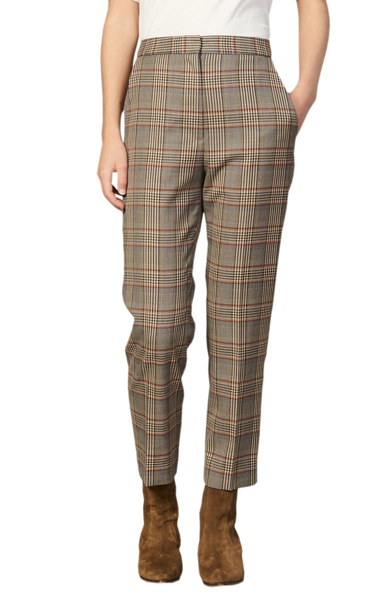 SANDRO Stainy Plaid Pants, Main, color, 200