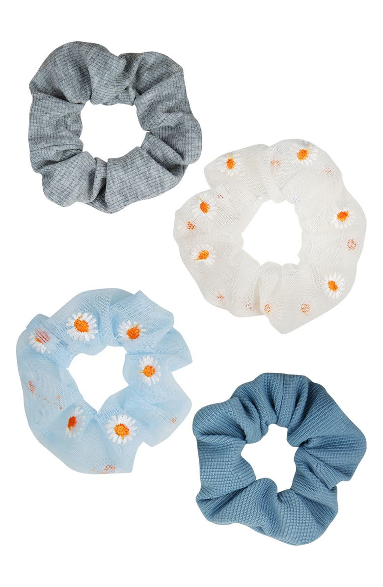 BERRY Daisy Organza Hair Scrunchies - Pack of 4, Main, color, BLUE/WHITE