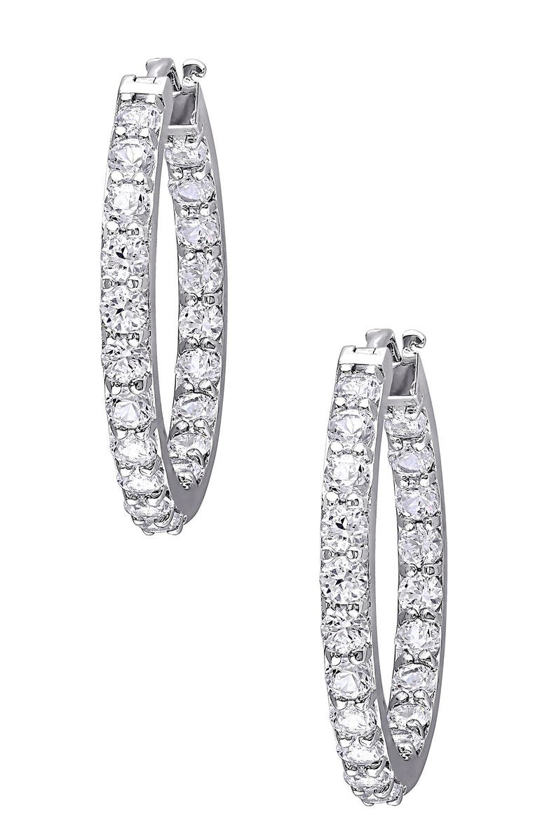 DELMAR Sterling Silver Created White Sapphire 26mm Hoop Earrings, Main, color, SILVER