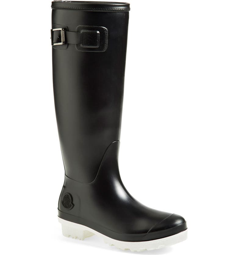 MONCLER 'Hermine' Rain Boot, Main, color, BLACK/ WHITE LEATHER