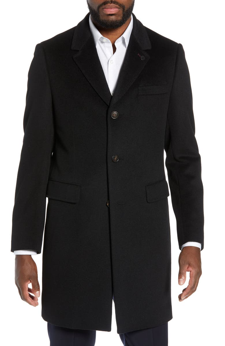 TED BAKER LONDON Swish Wool & Cashmere Overcoat, Main, color, 001