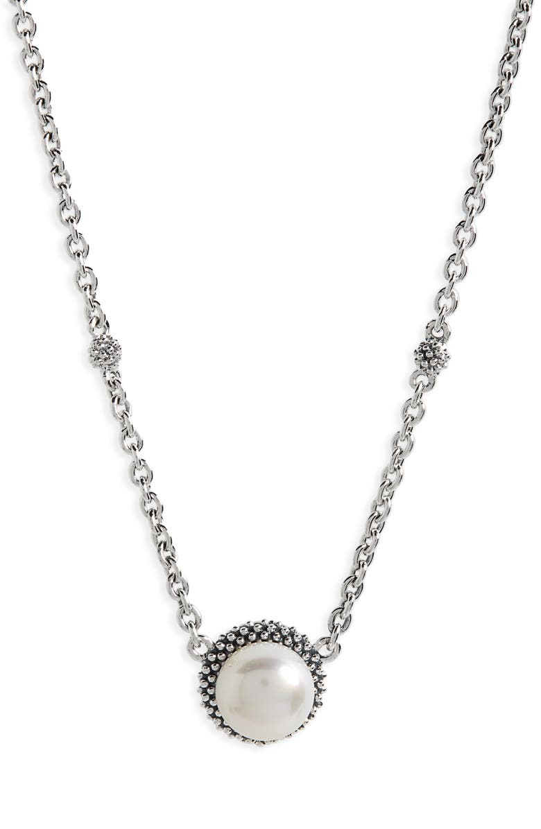 LAGOS 'Luna' Pearl Pendant Necklace, Main, color, SILVER/ PEARL
