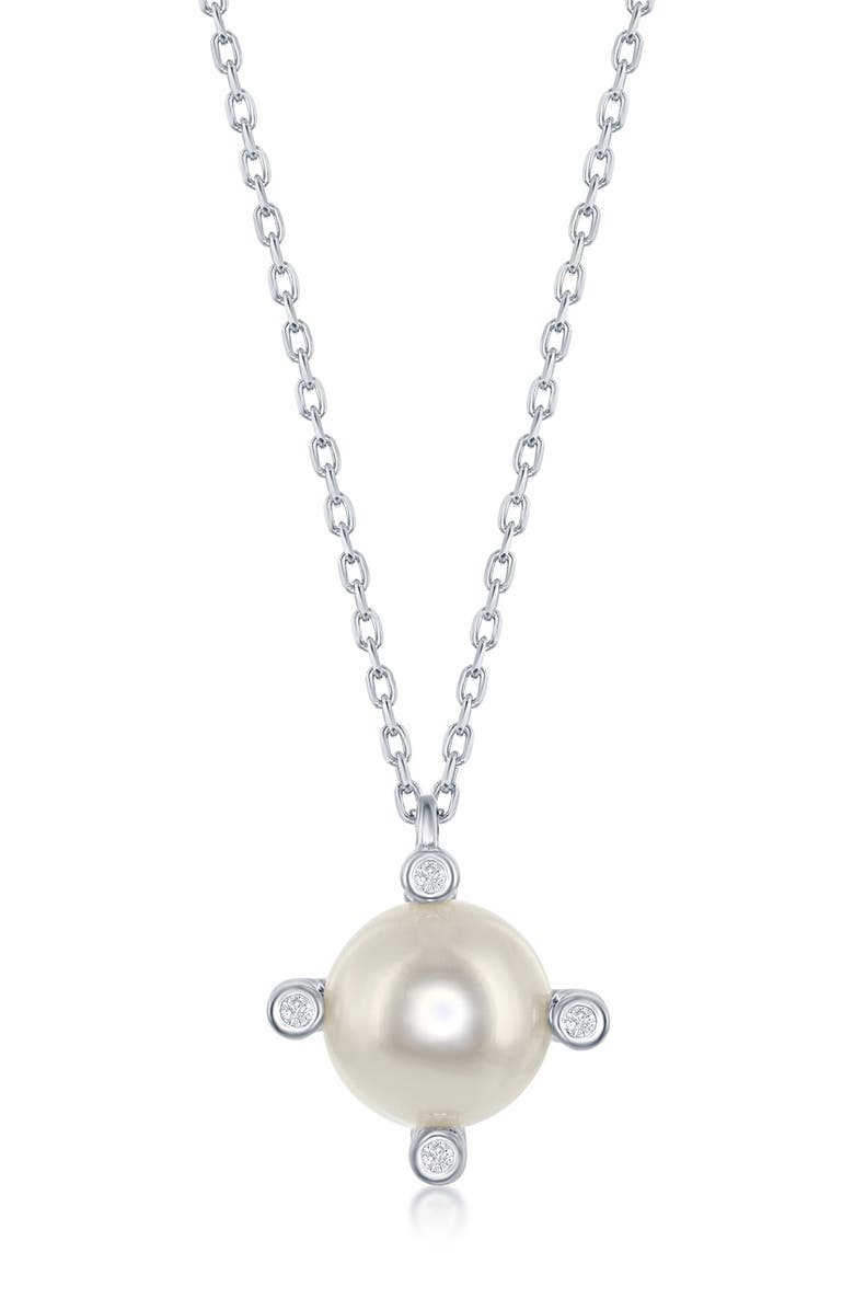 SIMONA Sterling Silver 18mm Freshwater Pearl & CZ Pendant Necklace, Main, color, SILVER