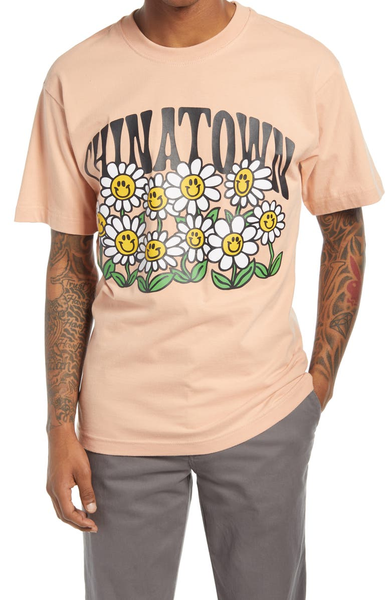 CHINATOWN MARKET Smiley Flower Power Graphic Tee, Main, color, ORANGE