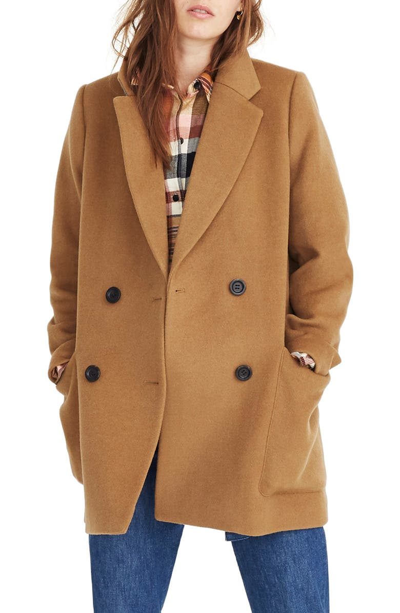 MADEWELL Hollis Double Breasted Coat, Main, color, CLASSIC DESERT