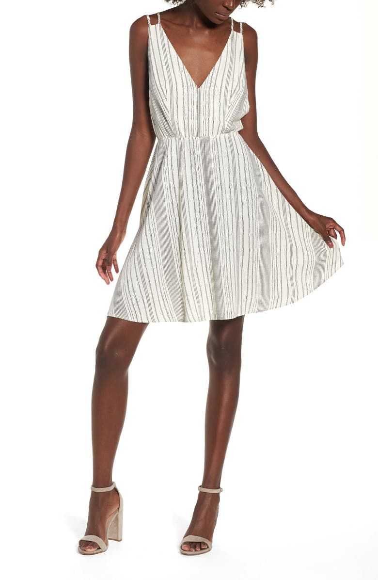 BP. Stripe Strappy Swing Dress, Main, color, IVORY EGRET DOTTED STRIPE