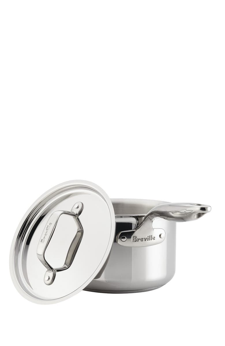 BREVILLE Thermo Pro Clad 4 Quart Covered Saucepot, Main, color, CLAD STAINLESS STEEL