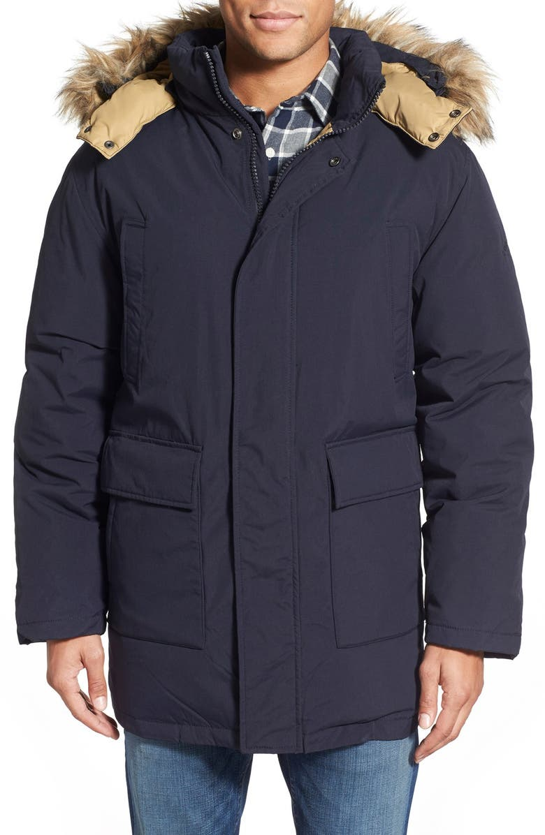 SCHOTT NYC 'Iceberg' Water Resistant Down Parka with Faux Fur Trim, Main, color, 410