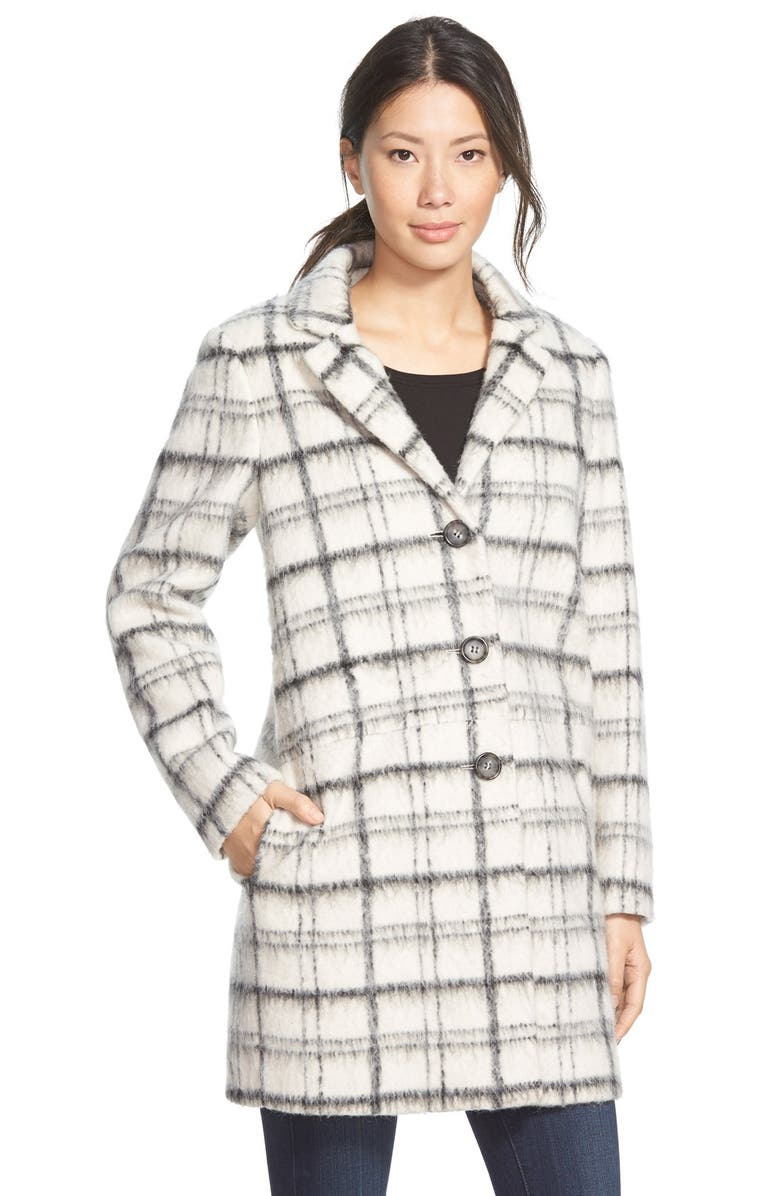DKNY Notch Collar Plaid Reefer Coat, Main, color, 900