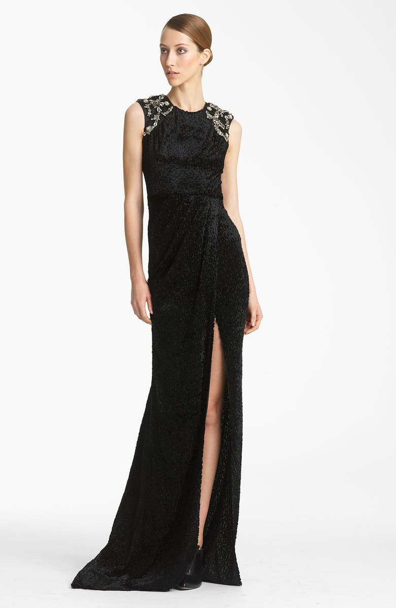 JASON WU COLLECTION Jason Wu Embroidered Gown, Main, color, Black