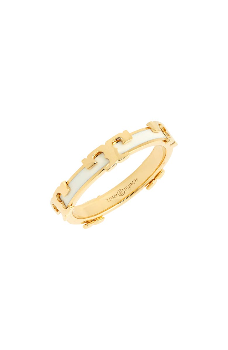 TORY BURCH Kira Stackable Enamel Ring, Main, color, TORY GOLD / NEW IVORY