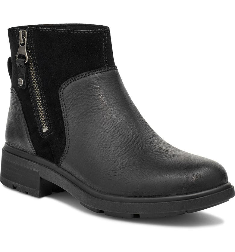 UGG<SUP>®</SUP> Harrison Waterproof Bootie, Main, color, BLACK LEATHER