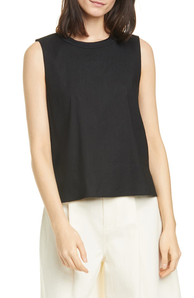 VINCE Linen Blend Shell, Main, color, BLACK