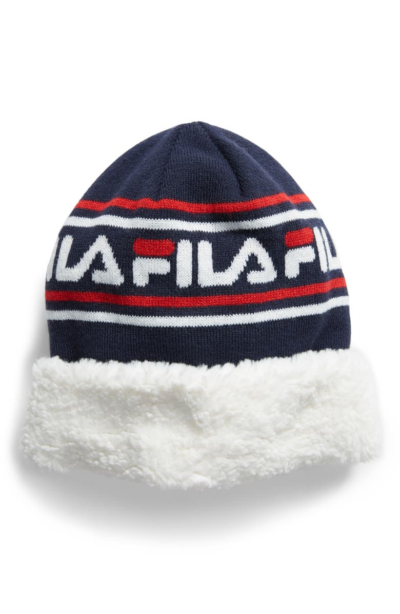 THE HERITAGE COLLECTION FILA Faux Shearling Trim Beanie, Main, color, 400