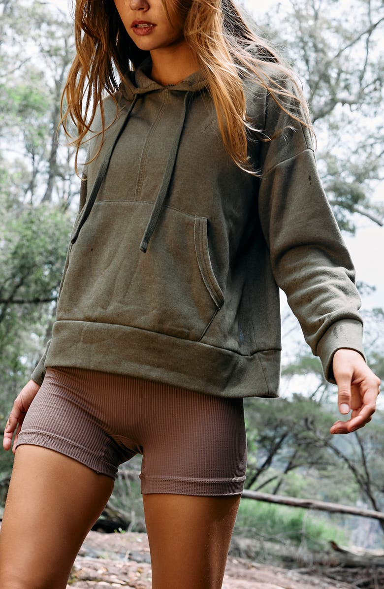 FREE PEOPLE FP MOVEMENT Work It Out Hoodie, Main, color, ARMY