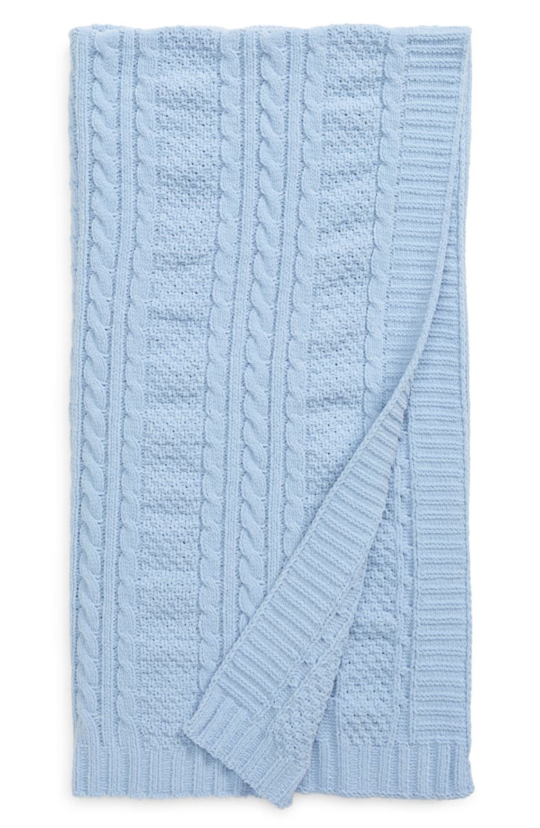 NORDSTROM BABY Cable Knit Blanket, Main, color, BLUE FOG