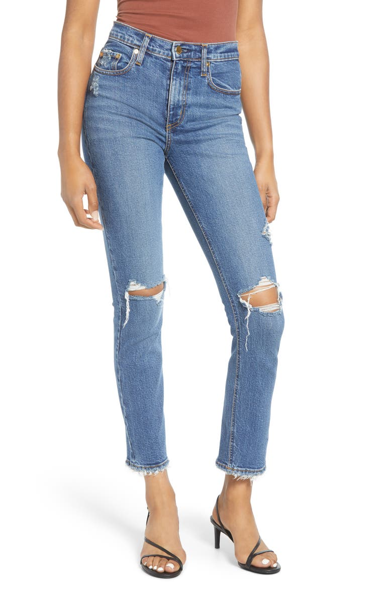 NOBODY DENIM True High Waist Ripped Slim Ankle Jeans, Main, color, 400