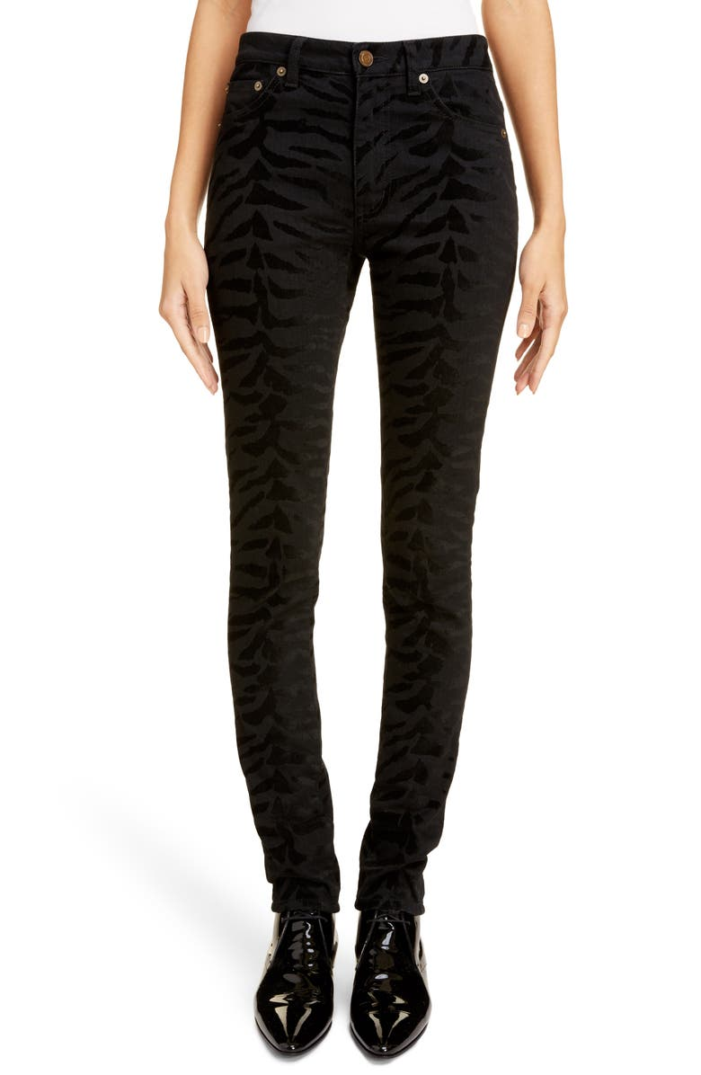 SAINT LAURENT Animal Pattern Skinny Jeans, Main, color, 001