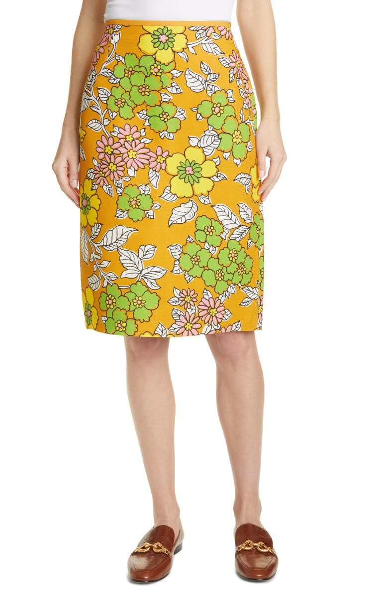 TORY BURCH Floral Print Twill Pencil Skirt, Main, color, RUST WALLPAPER FLORAL