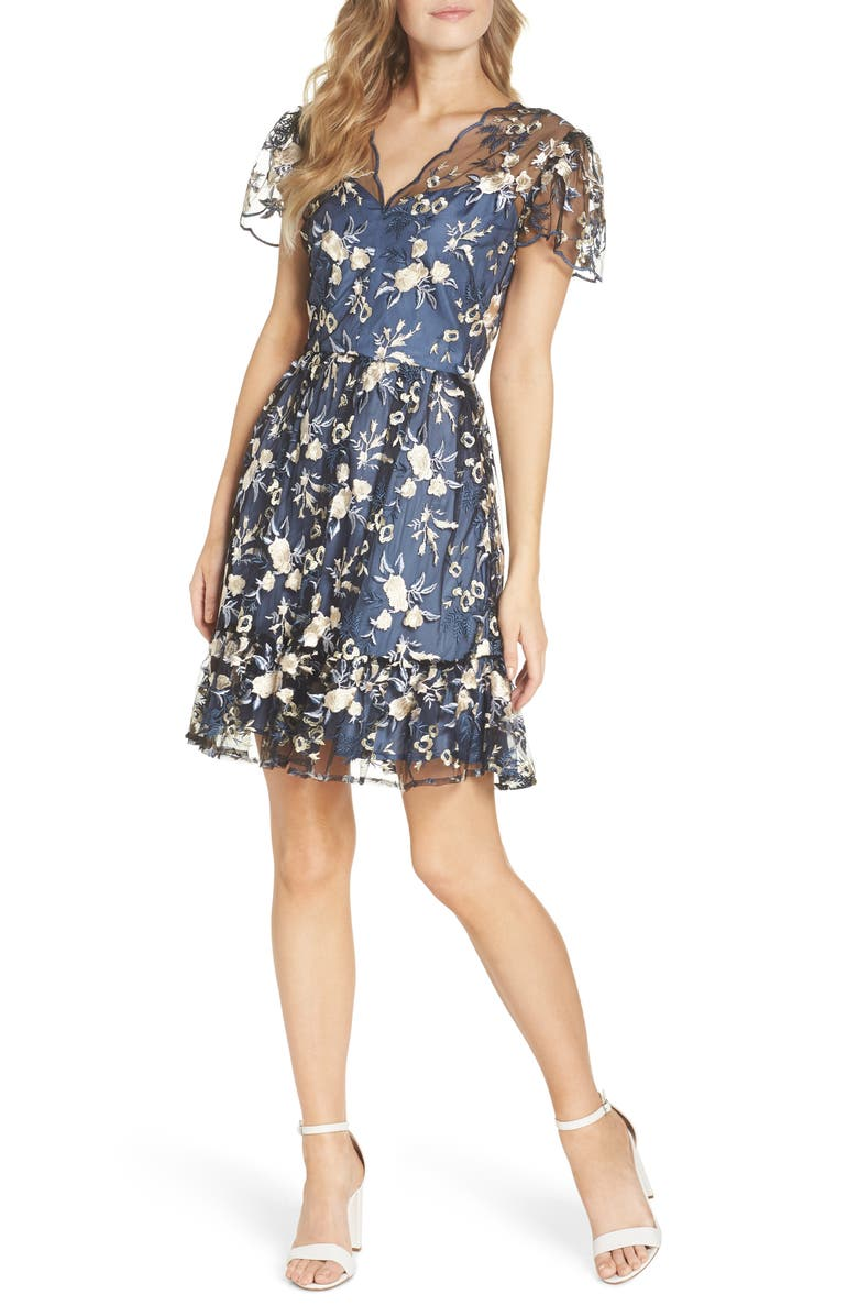 GAL MEETS GLAM COLLECTION Bridget Embroidered Dress, Main, color, BLUE/ CREAM