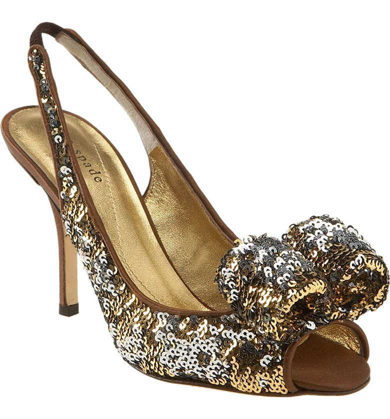 KATE SPADE NEW YORK kate spade 'carly' sequin pump, Main, color, SILVER/ GOLD SEQUINS